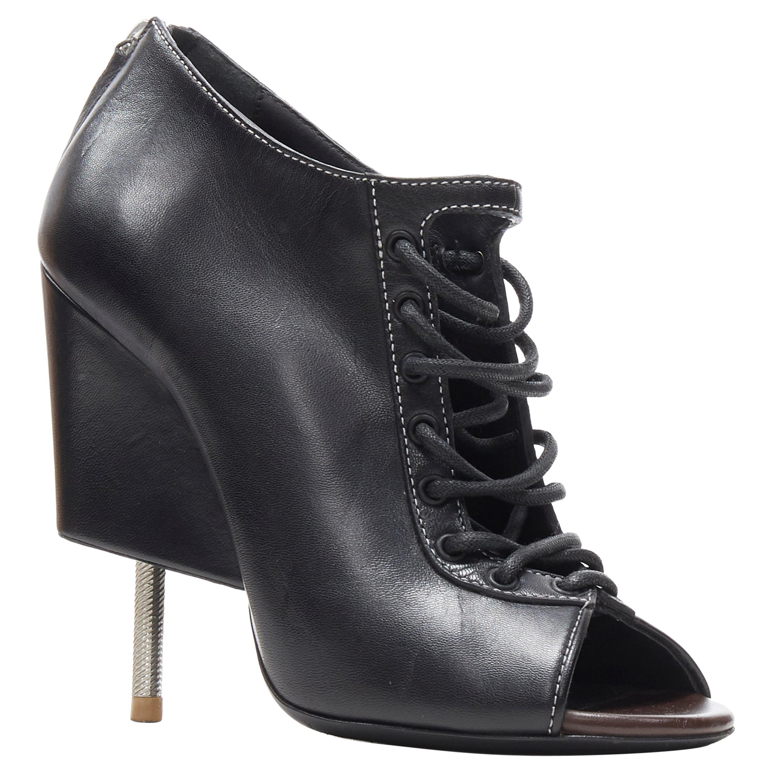 runway GIVENCHY TISCI black lace up open toe angular nail heel bootie EU38