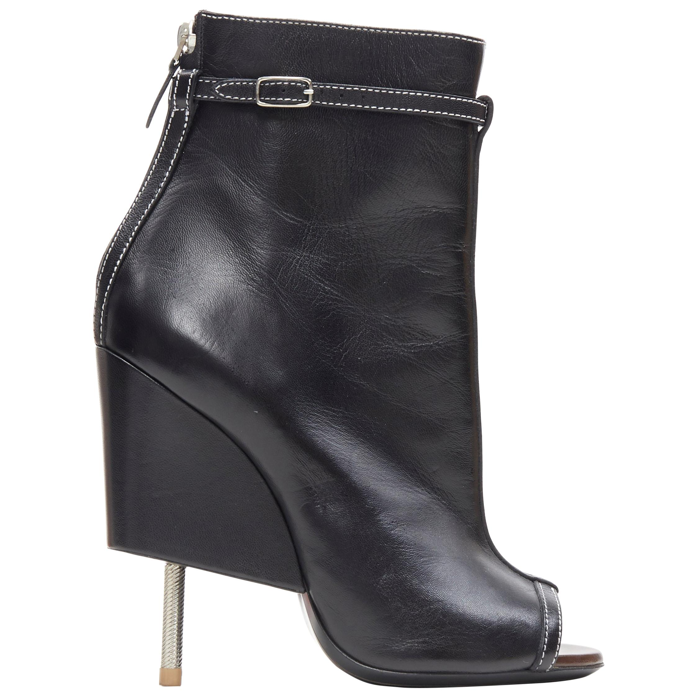 runway GIVENCHY TISCI black leather overstitched peep toe nail heel bootie EU38