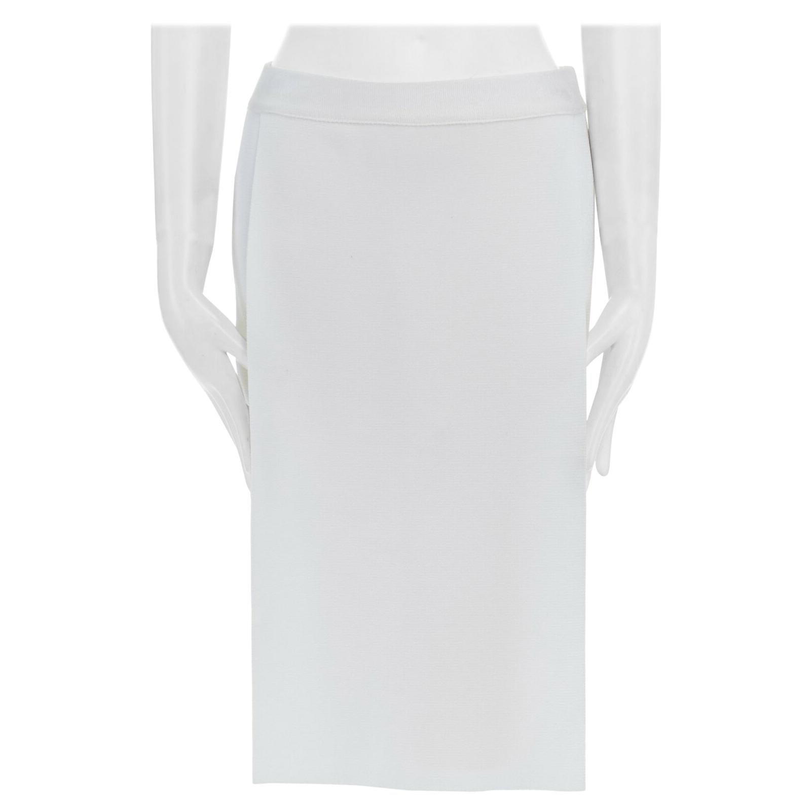 """runway GIVENCHY white jersey panel stretch fit bodycon pencil skirt M 25"""""""