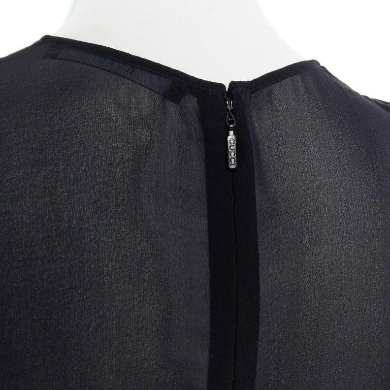 runway GUCCI black silk grey cashmere blend decorative pocket mini dress S For Sale 5