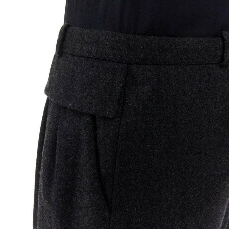 runway GUCCI black silk grey cashmere blend decorative pocket mini dress S For Sale 6