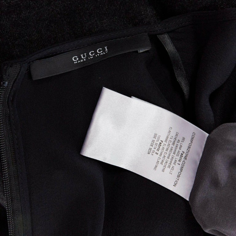runway GUCCI black silk grey cashmere blend decorative pocket mini dress S For Sale 7