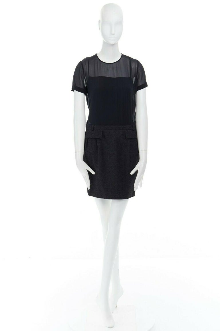 Black runway GUCCI black silk grey cashmere blend decorative pocket mini dress S For Sale