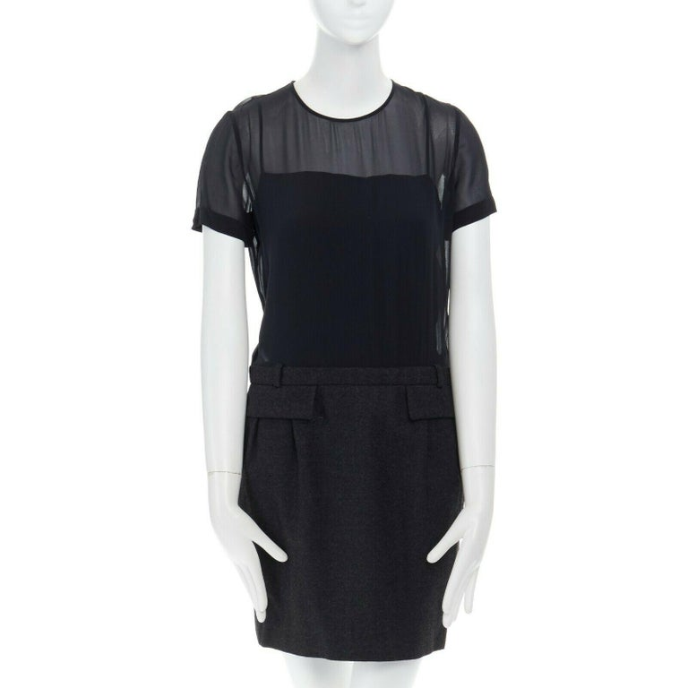runway GUCCI black silk grey cashmere blend decorative pocket mini dress S In Excellent Condition For Sale In Hong Kong, NT