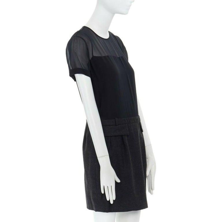 Women's runway GUCCI black silk grey cashmere blend decorative pocket mini dress S For Sale