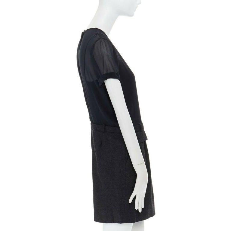 runway GUCCI black silk grey cashmere blend decorative pocket mini dress S For Sale 1