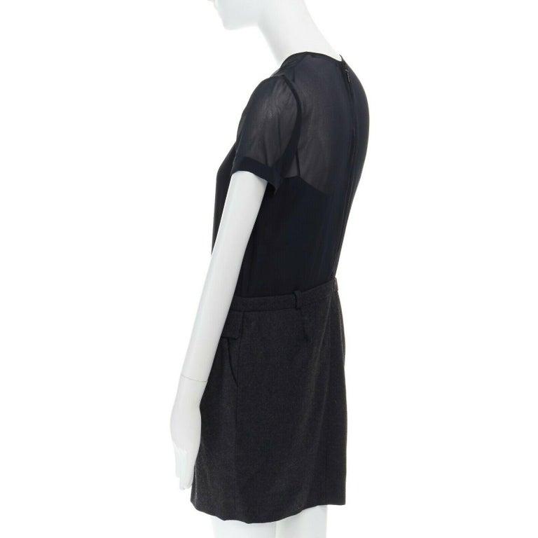 runway GUCCI black silk grey cashmere blend decorative pocket mini dress S For Sale 2