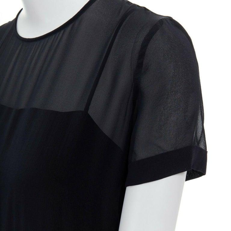 runway GUCCI black silk grey cashmere blend decorative pocket mini dress S For Sale 3