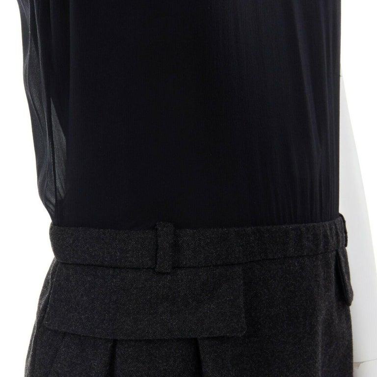 runway GUCCI black silk grey cashmere blend decorative pocket mini dress S For Sale 4