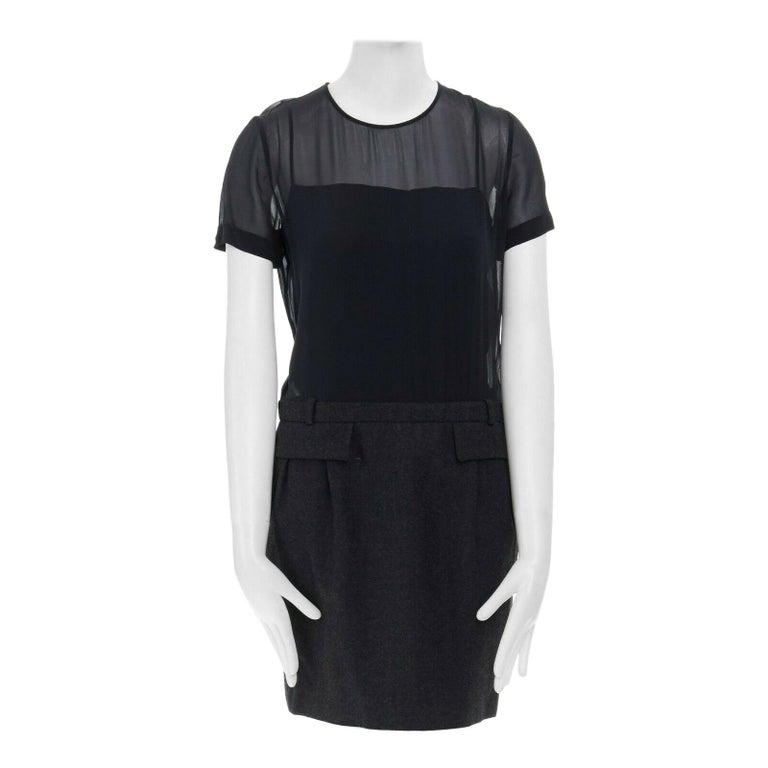 runway GUCCI black silk grey cashmere blend decorative pocket mini dress S For Sale