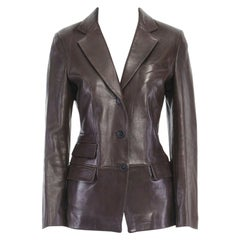 runway GUCCI TOM FORD AW96 brown leather classic blazer jacket coat IT38 US0 XS