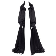 runway GUCCI TOM FORD black ruched oversized parachute coat gown dress