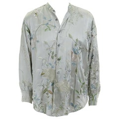 runway GUCCI TOM FORD green silk chinoiserie floral embroidered kimono shirt  L