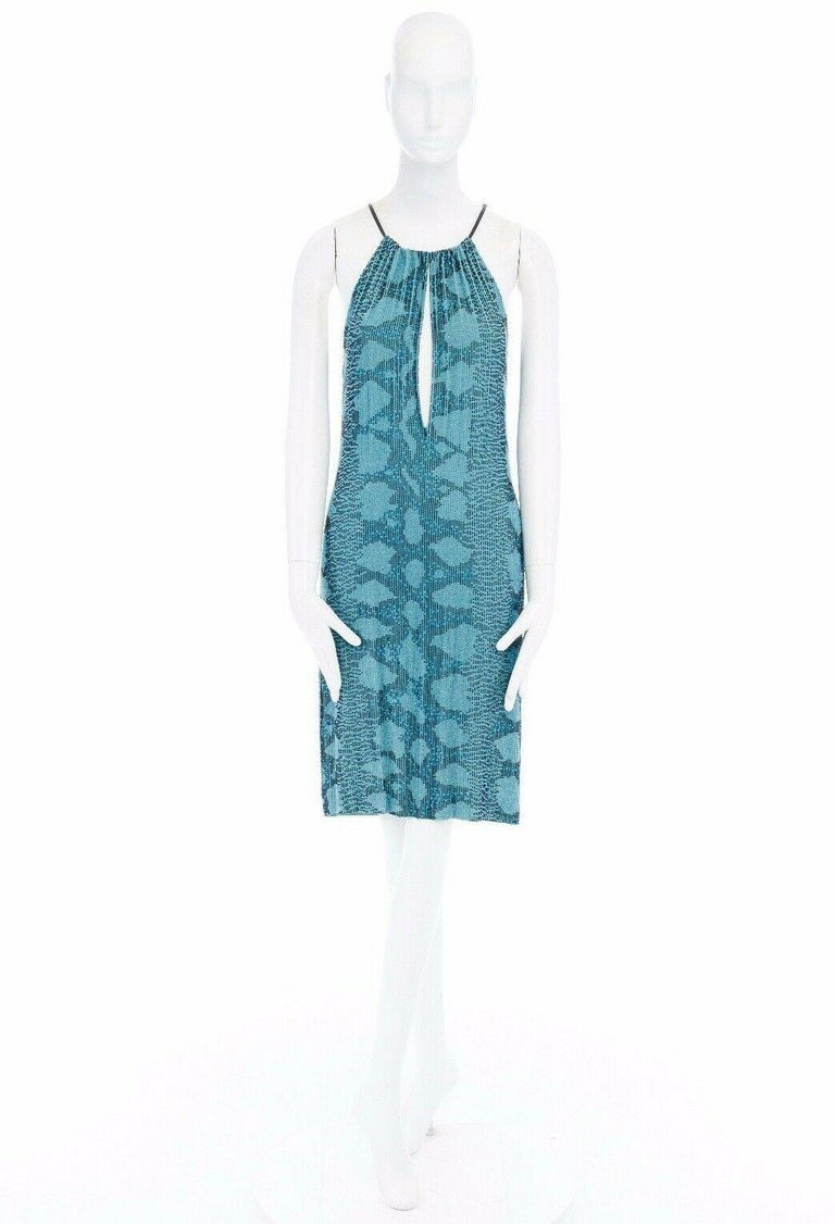 runway GUCCI TOM FORD SS00 blue python glass bead embroidery halter dress S In Good Condition For Sale In Hong Kong, NT