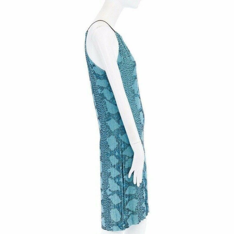 runway GUCCI TOM FORD SS00 blue python glass bead embroidery halter dress S For Sale 1