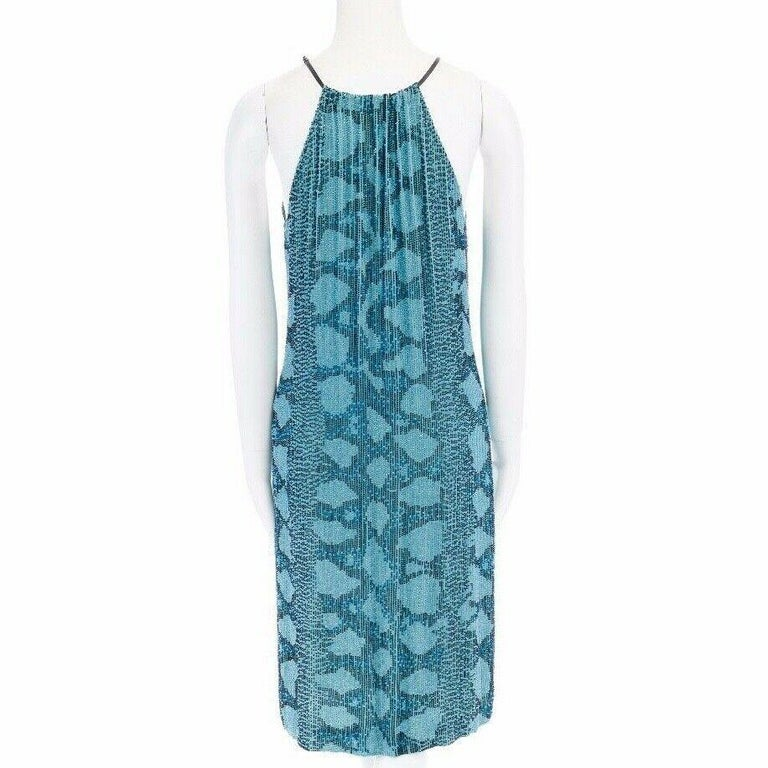 runway GUCCI TOM FORD SS00 blue python glass bead embroidery halter dress S For Sale 2