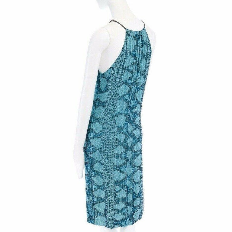 runway GUCCI TOM FORD SS00 blue python glass bead embroidery halter dress S For Sale 3