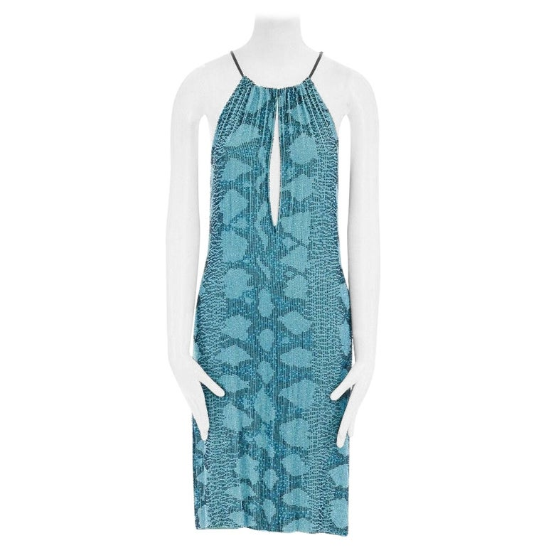 runway GUCCI TOM FORD SS00 blue python glass bead embroidery halter dress S For Sale