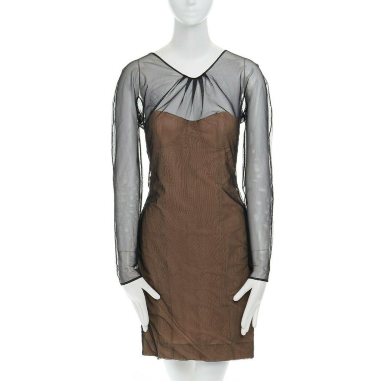 Gray runway GUCCI TOM FORD SS01 nude mesh corset illusion dress Kate Moss IT42 M For Sale