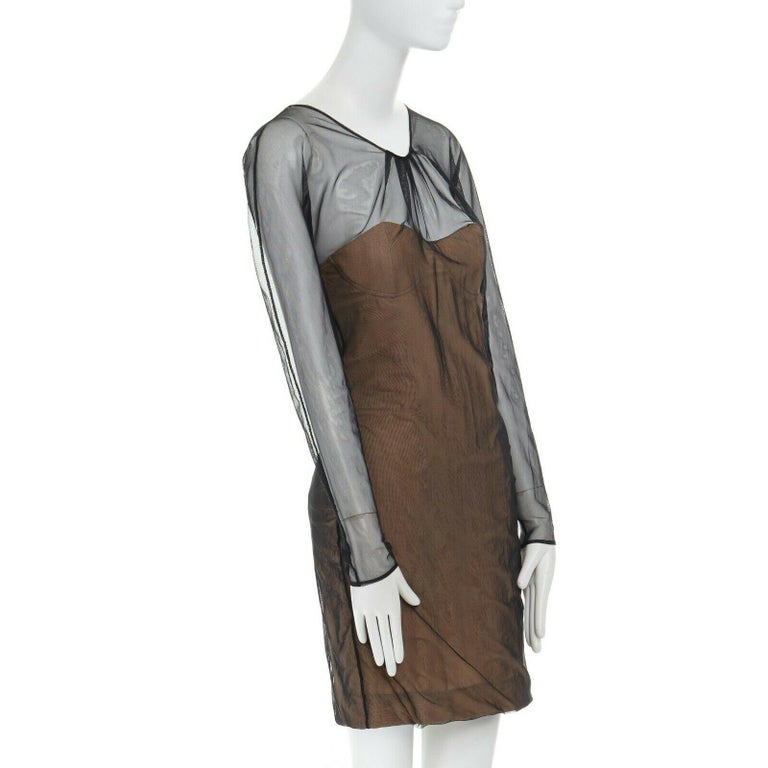 runway GUCCI TOM FORD SS01 nude mesh corset illusion dress Kate Moss IT42 M In Excellent Condition For Sale In Hong Kong, NT