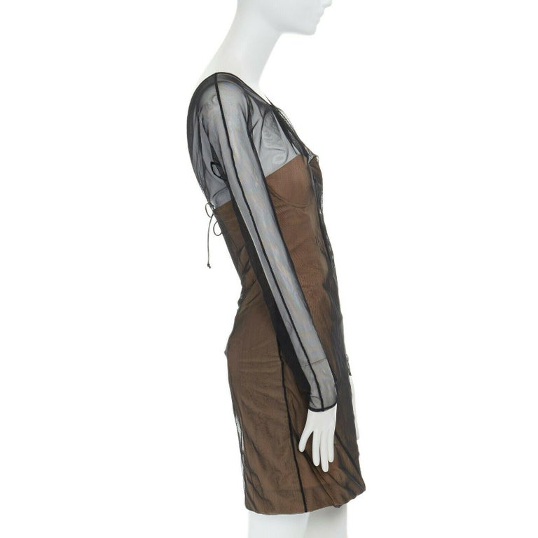 Women's runway GUCCI TOM FORD SS01 nude mesh corset illusion dress Kate Moss IT42 M For Sale