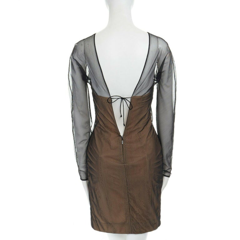 runway GUCCI TOM FORD SS01 nude mesh corset illusion dress Kate Moss IT42 M For Sale 1