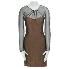 runway GUCCI TOM FORD SS01 nude mesh corset illusion dress Kate Moss IT42 M
