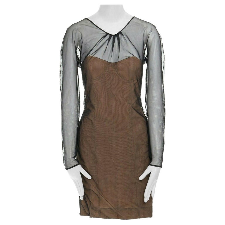 runway GUCCI TOM FORD SS01 nude mesh corset illusion dress Kate Moss IT42 M For Sale
