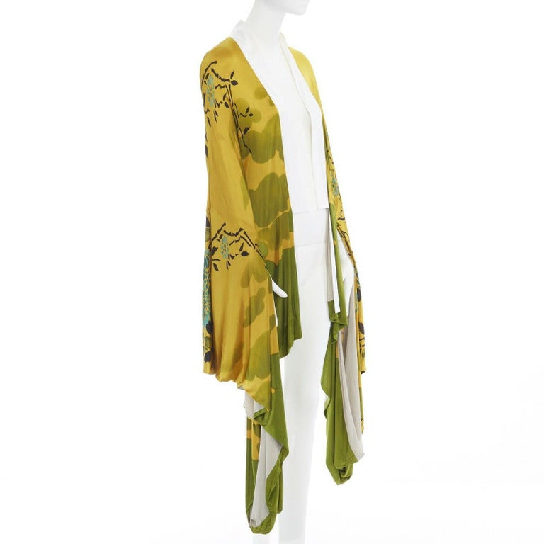 runway GUCCI TOM FORD Vintage SS03 yellow oriental kimono robe jacket IT40 S In Good Condition For Sale In Hong Kong, NT