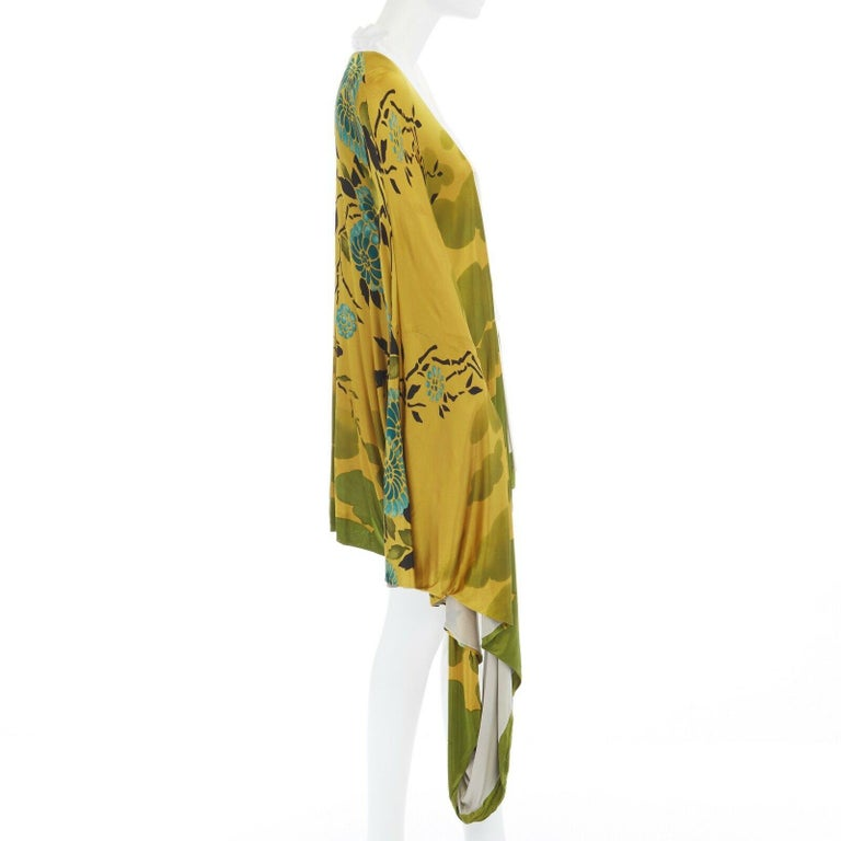 Women's runway GUCCI TOM FORD Vintage SS03 yellow oriental kimono robe jacket IT40 S For Sale