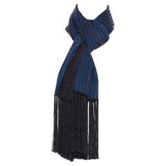 runway HAIDER ACKERMANN blue brown striped black fringe long scarf