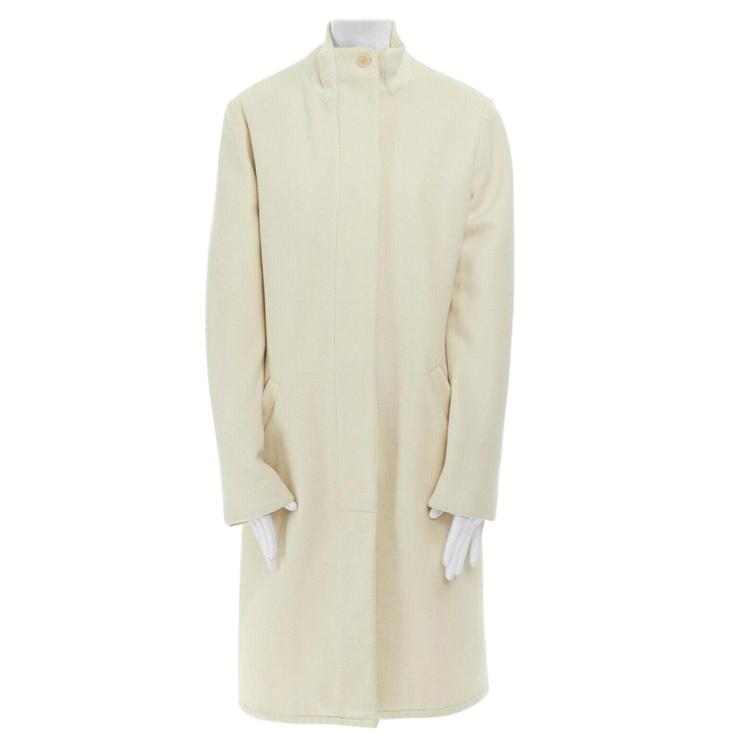 runway HELMUT LANG Vintage AW97 cream bomber collar wool coat jacket IT40 US2 S