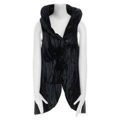 runway ISSEY MIYAKE AW2010 black velvet devore covertible padded vest jacket