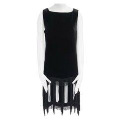 runway JEAN PAUL GAULTIER FW1997 black velvet cut out fringe  dress IT40 US4 S