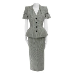 runway JOHN GALLIANO SS95 houndstooth ruched sleeve padded hip set FR40 S