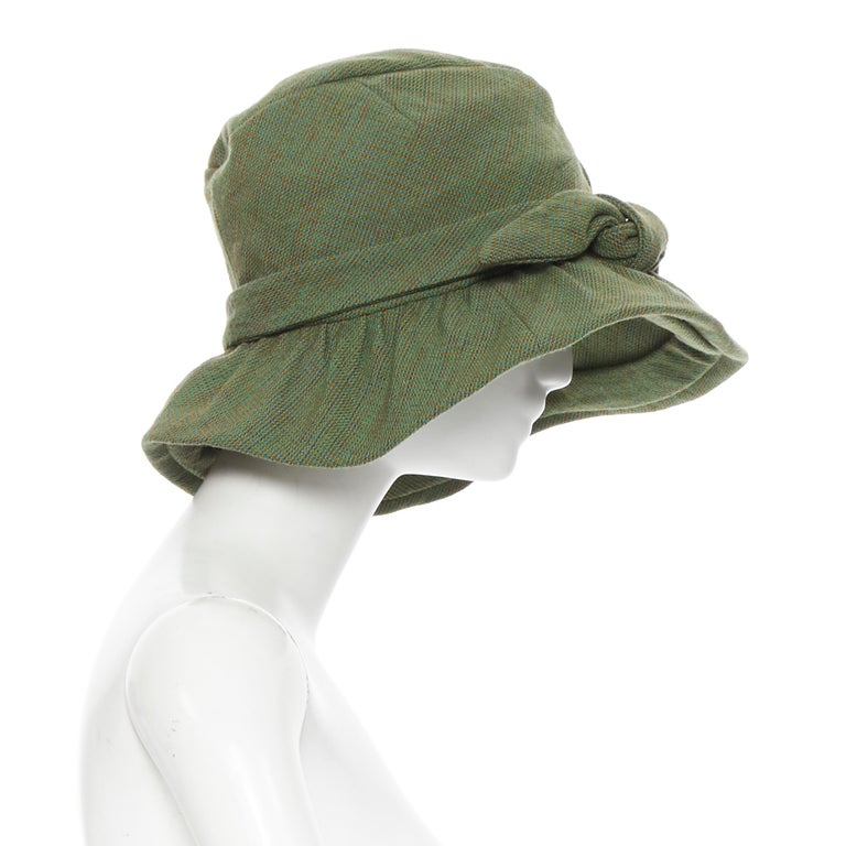 Gray runway JUNYA WATANABE AW04 green wool tweed bow tie floppy fedora hat