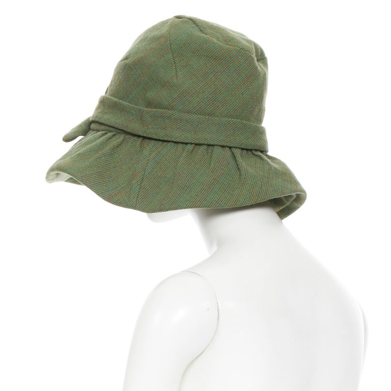 Women's runway JUNYA WATANABE AW04 green wool tweed bow tie floppy fedora hat