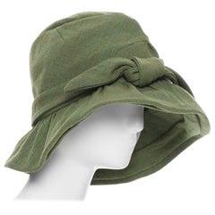 runway JUNYA WATANABE AW04 green wool tweed bow tie floppy fedora hat
