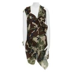 runway JUNYA WATANABE AW10 green camo print pleated bundled ruffle dress JP1 S