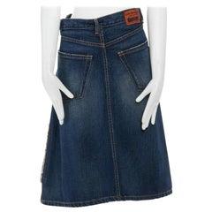 "runway JUNYA WATANABE AW2004 blue denim reversed deconstructed knee skirt M 29"""