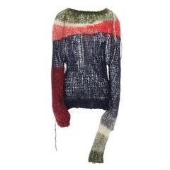 runway JUNYA WATANABE AW2006 punk green red blue loose wool knit sweater top S