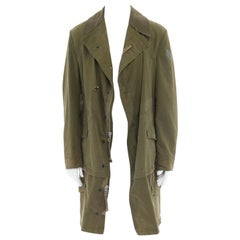 runway JUNYA WATANABE military green cotton deconstructed extended hem coat L