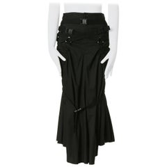 "runway JUNYA WATANABE SS2003 parachute black harness ruched midi skirt S 28"""