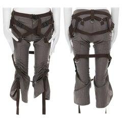 runway JUNYA WATANABE SS2003 Parachute brown bondage harness buckle belt pants S