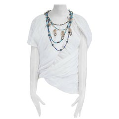 runway JUNYA WATANABE SS2014 white linen beaded feather necklace top XS JP0 US2