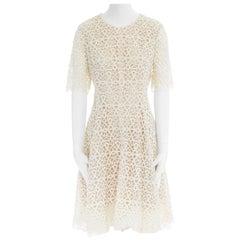 runway LELA ROSE cream embroidery silk short sleeve flared cocktail dress US6 M