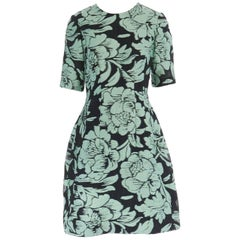 runway LELA ROSE green black jacquard floral short sleeve cocktail dress US6 M