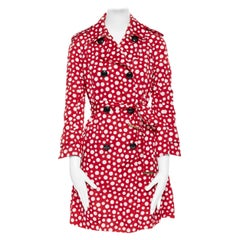 runway LOUIS VUITTON YAYOI KUSAMA red white spot print belted trench coat FR36 S