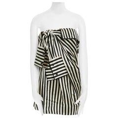 runway MONSE SS16 black stripe deconstructed tie sleeve strapless mini dress US2