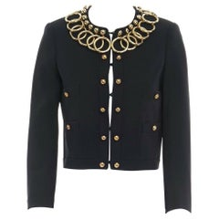 runway MOSCHINO black gold metal ring trimmed collar cropped classic jacket S